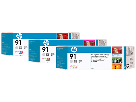 HP 91 3-pack 775-ml Light Grey Ink Cartridges