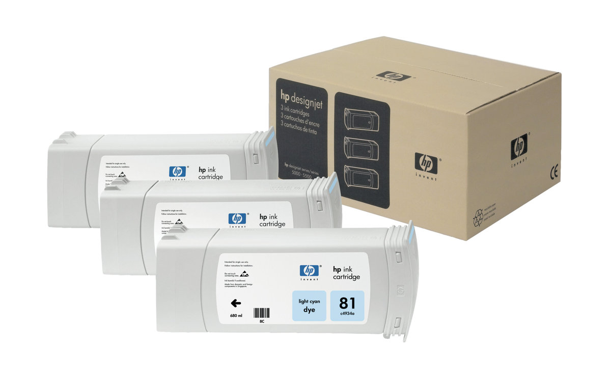 HP 81 3-pack 680-ml Light Cyan Dye